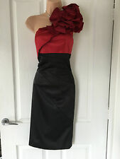 KAREN MILLEN BLACK/RED  1 SHOULDER WIGGLE DRESS 10