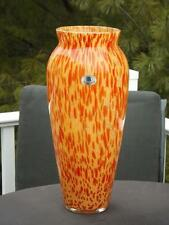 "Tall Azzurra Maestri Vietri Orange Glass Vase Made in Italy 15"" Tall EXC"