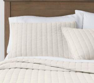 2 Threshold Cream Channel Stitch Velvet Quilt Shams Standard Nwop Pair