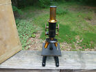 ANTIQUE Vintage 1915 Bausch & Lomb Brass plate Microscope & Wood Box 1926