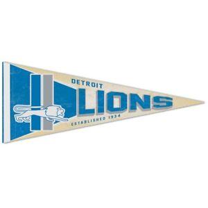 "DETROIT LIONS CLASSIC RETRO LOGO ROLL UP FELT PENNANT 12""x30"" NEW WINCRAFT 👀🏈"
