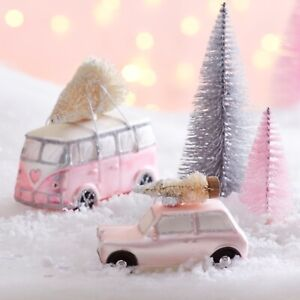 Coming Home For Christmas Pink Camper Van & Tree Glass Bauble Decoration