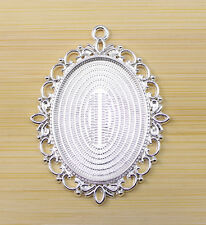 2 pcs Restore ancient ways the oval base Settings charm Bright silver pendant