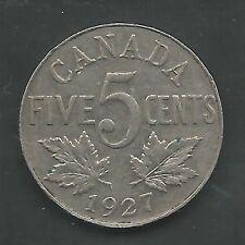 CANADA,  1927,  5 CENTS,  NICKEL, VERY FINE-EXTRA FINE, KM#29