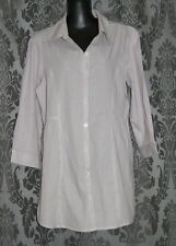 Womens size 12 purple & white long pinstriped button down shirt made by KATIES
