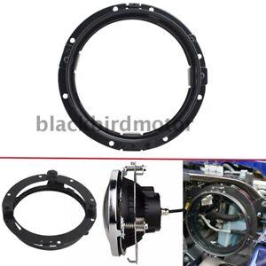 "Black 7""Round LED Headlight Mounting Bracket Ring For Harley Jeep Wrangler JK TJ"