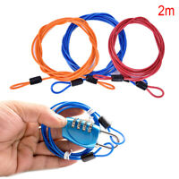 2Meters Security Double Loop Cable Strong Braided Steel For Bike Chain Lock Gn
