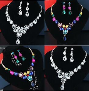 Bridal Wedding Jewelry Set Crystal Rhinestone Diamante Necklace & Earrings multi