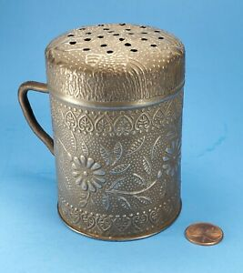 Early Antique Decorative Embossed Patterned Tin Muffineer Sugar Salt Shaker