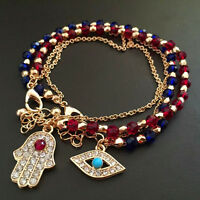 Fashion Women's Chic Jewelry Charm Hamsa Hand Lucky Evil Eye Beads Bracelet