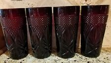 Set Lot 4 Arcoroc Luminarc Ruby Red Cris D'Arques Durand France Ice Tea Tumblers