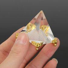 Pyramide égypte Cristal Clair Reiki Chakra Feng Shui 50 x 40 mm facette 3 D
