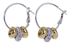 Swarovski Elements Crystal Charm Beads Earrings Rhodium Gold Plated 7143x