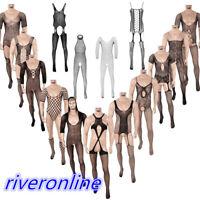 Mens Fishnet Stocking Bodysuit Full Body Leotard Jumpsuit Underwear Pantyhose
