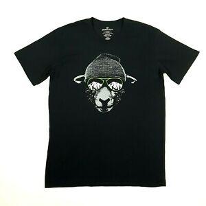 GLOBAL CULTURE Mens Graphic T-Shirt L Black Mountain Sheep New Zealand Cotton