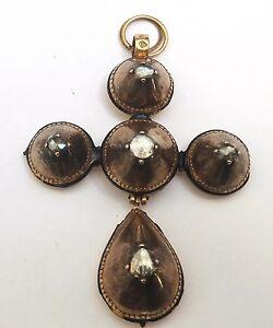 Early Georgian 18ct Gold Diamond Pendant Circa 1650s Enamel Cross