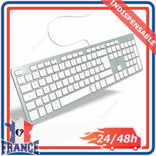 Clavier AZERTY Français FR  Filaire pour Mac PC Mobility Lab Blanc Argenté