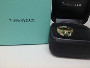 Vintage Tiffany & Co. Solid 18K Gold Emerald and Diamond Ring size 5.25