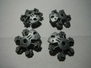 LEGO LOT 4 FLAT SILVER 5X5 BIONICLE WEAPON SHIELD WITH GEAR TIPS #44938