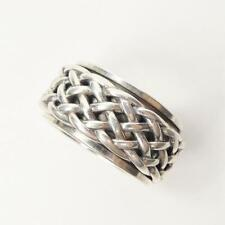 Sterling Silver Criss Cross Braided Pattern Men 12mm Wide Spinner Ring Size 9.5