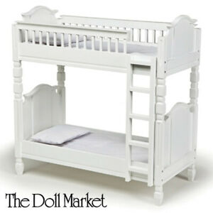 """Solid Wood Laurent Doll White Bunk Bed Furniture Fits 18"""" American Girl Doll"""