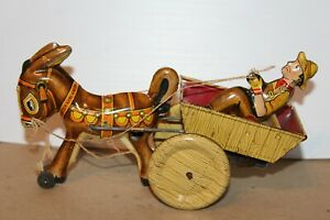 NICE 1930'S or 1940'S MARX TIN LITHO WIND UP BALKING MULE with RIDER