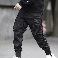 Men's Ribbons Harem Joggers Harajuku Pants Delicate Hip Hop Trousers Cargo Pants
