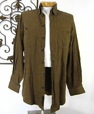 SCOTT BARBER 100% COTTON LONG SLEEVE CASUAL SHIRT SIZE L LARGE SOLID BROWN