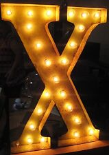 "Marque Lighted Sign 24"" Letter ""X"" Aged Metal Rustic Home Decor"