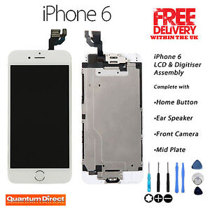 WHITE iPhone 6 Retina LCD & Digitiser Touch Screen Complete Assembly w/Parts