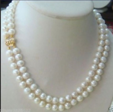 Hot 2 Row 7-8MM AKOYA REAL WHITE PEARL NECKLACE 18-19 Inch