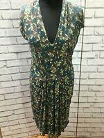 Gorgeous Nicole Farhi Green Floral Print Dress Size 12