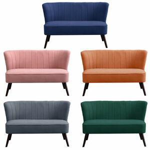 Velvet Small 2 Seater Sofa Armchair Corner Couch Loveseat Settee Scalloped Back