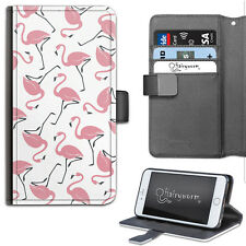 Hairyworm Pink Flamingo Pattern Deluxe PU Leather Wallet Phone Case, Flip Case