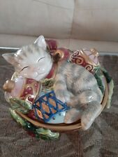 Vintage Fitz & Floyd Cat Dish Basket Holiday Christmas Covered Dish