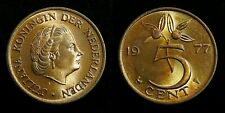 Netherlands - Juliana 5 Cent 1977 vrijwel FDC originele muntkleur