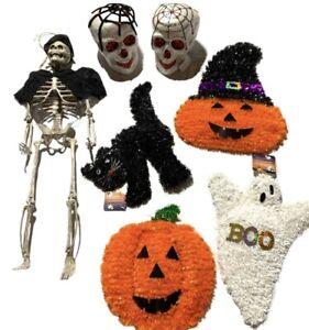 Halloween Decor Lot Wall Hanging Skeleton Tinsel Wreath Pumpkin Ghost Skulls Cat