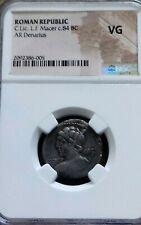 Roman Republic Licinius L.f. Macer Denarius Ngc Vg Ancient Silver Coin