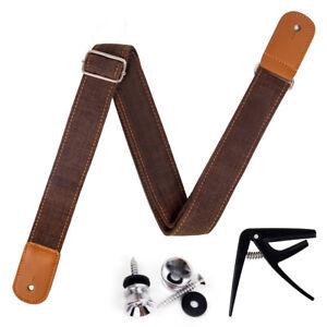 Ukulele Strap Adjustable Length Leather Straps Light Brown W/Strap Locks Capo