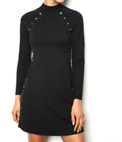 New Current Karen Millen Black Hardware Embellished Knitted Dress L 16 RRP £150