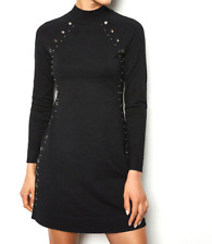 New Current Karen Millen Dress Black Hardware Studded Knitted L 16 RRP £150