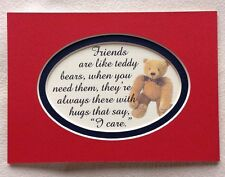 FRIENDS Like TEDDY BEARS Always There HUGS CARE Friendship verses poems plaques