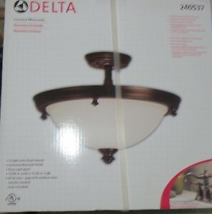 NEW Delta 3 Bulb Acabado Venetian Bronze Semi Flush Mount Lght Fixture