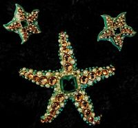 Vintage Kenneth Jay Lane Starfish Brooch And Matching Pierced Earrings RARE SET!