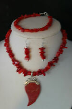 """Beautiful Red Coral Set Necklace 13"""" Inches Long +Pendant In Display Gift Box"""