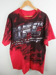 UFC All Over Graphics Mens T Shirt Size XL Crew Neck Tee Short Sleeve Red