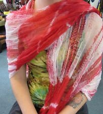 Silky Colourful Indian Thin Scarf Wrap With Beads White Base Tie Dye Red