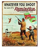 REMINGTON TIN SIGN RIFLES AMMUNITION SHELL FIREARMS SHOTGUN MAN CAVE 1.00 POSTER