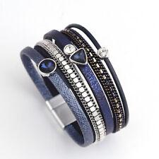 Fashion Women Leather Rhinestone Resin Magnet Wrap Cuff Charm Bracelet Jewelry