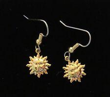 Sun Earrings Celestial 24 Karat Gold Plate Small Suns Smiling Faces Sun Shine